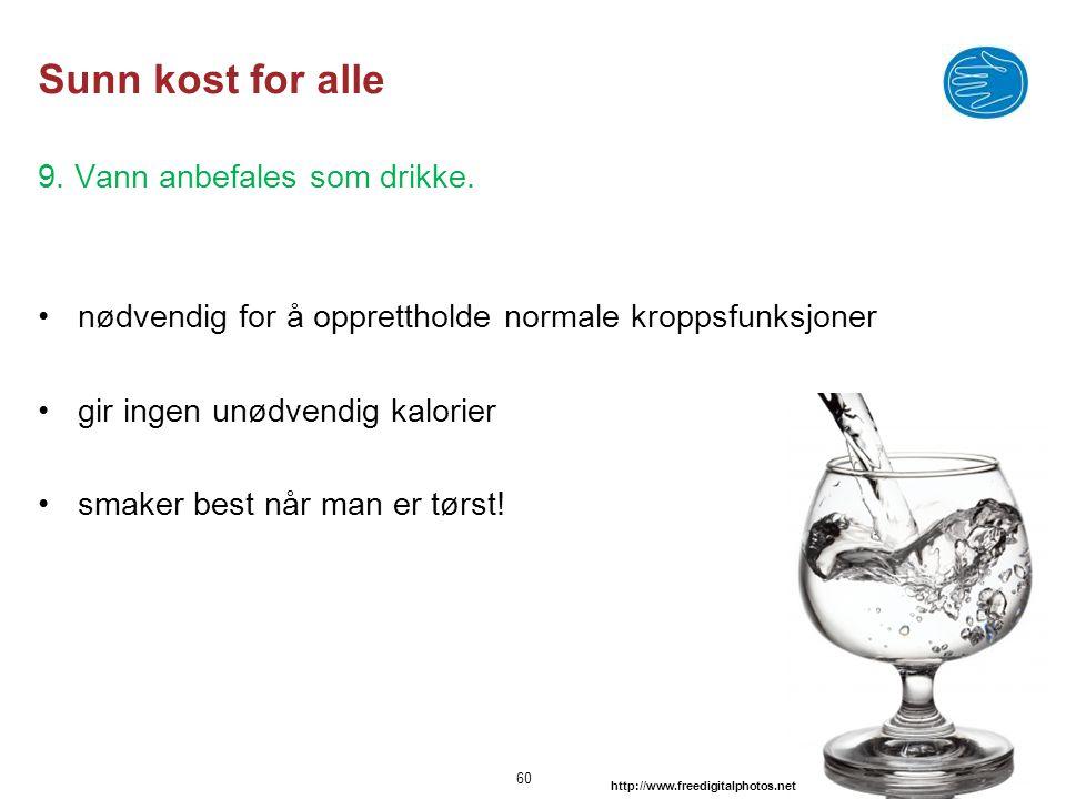 © Capio Sunn kost for alle 9. Vann anbefales som drikke. •nødvendig for å opprettholde normale kroppsfunksjoner •gir ingen unødvendig kalorier •smaker