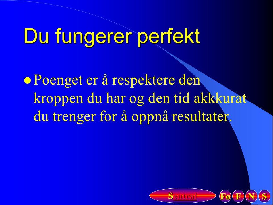 Fø FFFF NNNN SSSS Sentral Sentral Du fungerer perfekt l Poenget er å respektere den kroppen du har og den tid akkkurat du trenger for å oppnå resultat