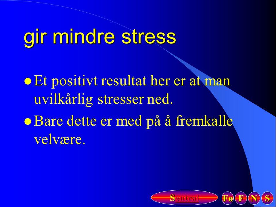 Fø FFFF NNNN SSSS Sentral Sentral gir mindre stress l Et positivt resultat her er at man uvilkårlig stresser ned. l Bare dette er med på å fremkalle v