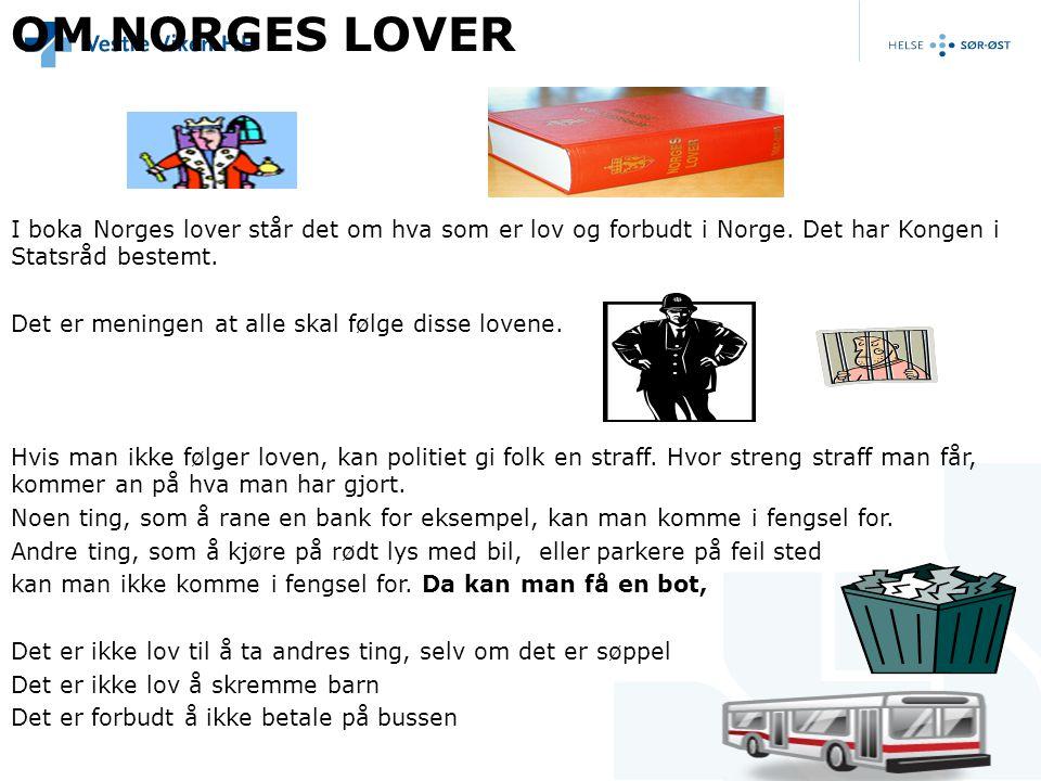 OM NORGES LOVER I boka Norges lover står det om hva som er lov og forbudt i Norge. Det har Kongen i Statsråd bestemt. Det er meningen at alle skal føl