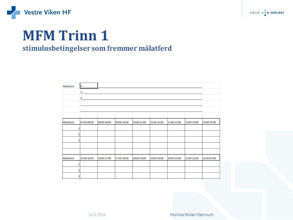MFM Trinn 1 stimulusbetingelser som fremmer målatferd 14.2.2014Monica Stolen Dønnum