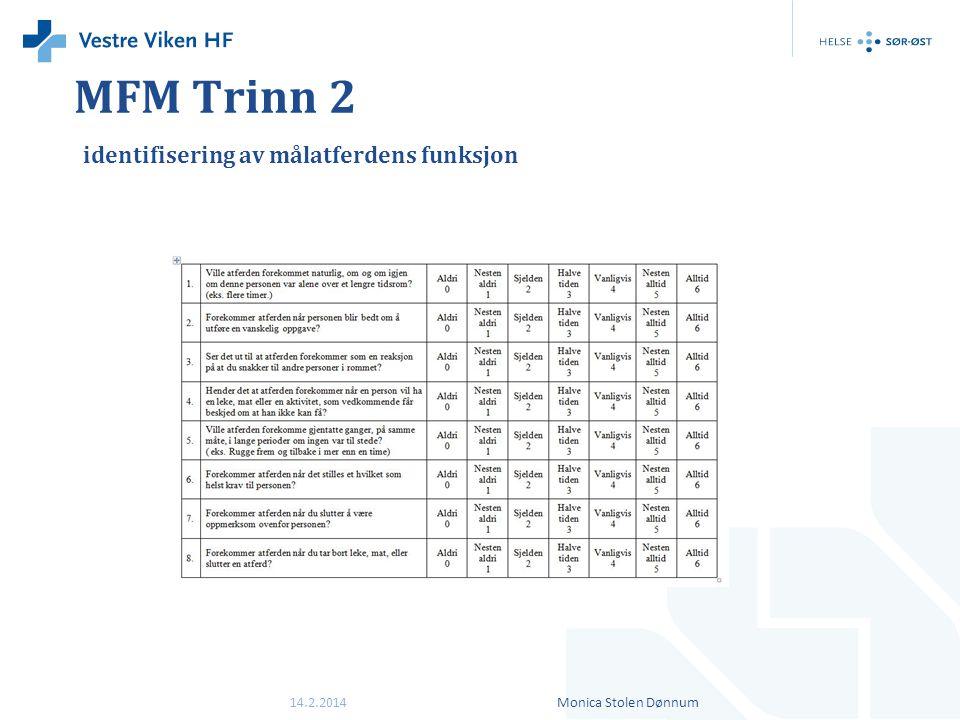MFM Trinn 2 identifisering av målatferdens funksjon 14.2.2014Monica Stolen Dønnum