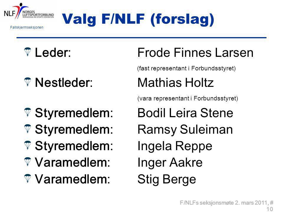 Fallskjermseksjonen F/NLFs seksjonsmøte 2. mars 2011, # 10 Valg F/NLF (forslag) Leder: Frode Finnes Larsen (fast representant i Forbundsstyret) Nestle