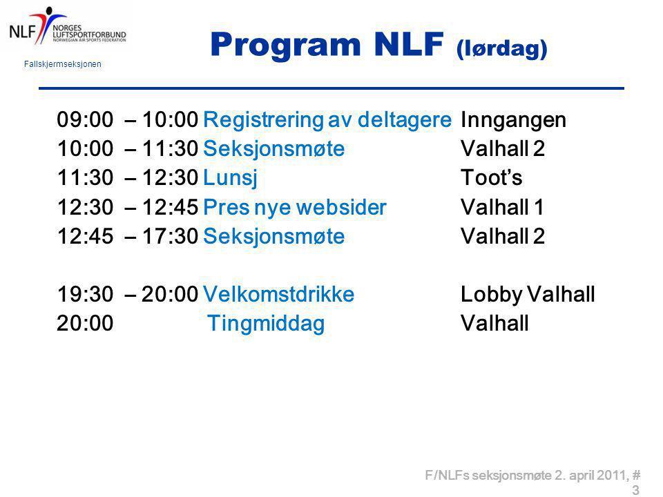 Fallskjermseksjonen F/NLFs seksjonsmøte 2. april 2011, # 3 Program NLF (lørdag) 09:00 – 10:00 Registrering av deltagere Inngangen 10:00 – 11:30 Seksjo