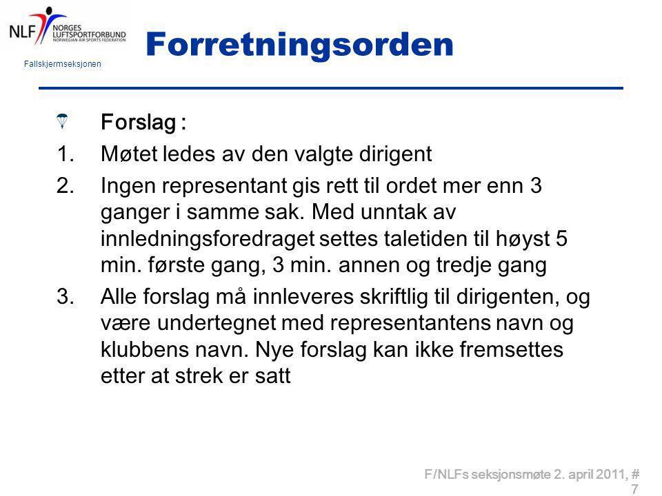 Fallskjermseksjonen F/NLFs årsmøte 2.april2011, # 8 Forretningsorden forts.