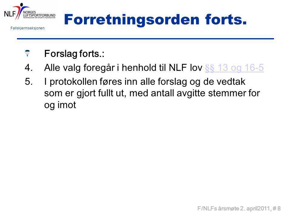 Fallskjermseksjonen F/NLFs årsmøte 2. april2011, # 8 Forretningsorden forts. Forslag forts.: 4.Alle valg foregår i henhold til NLF lov §§ 13 og 16-5§§