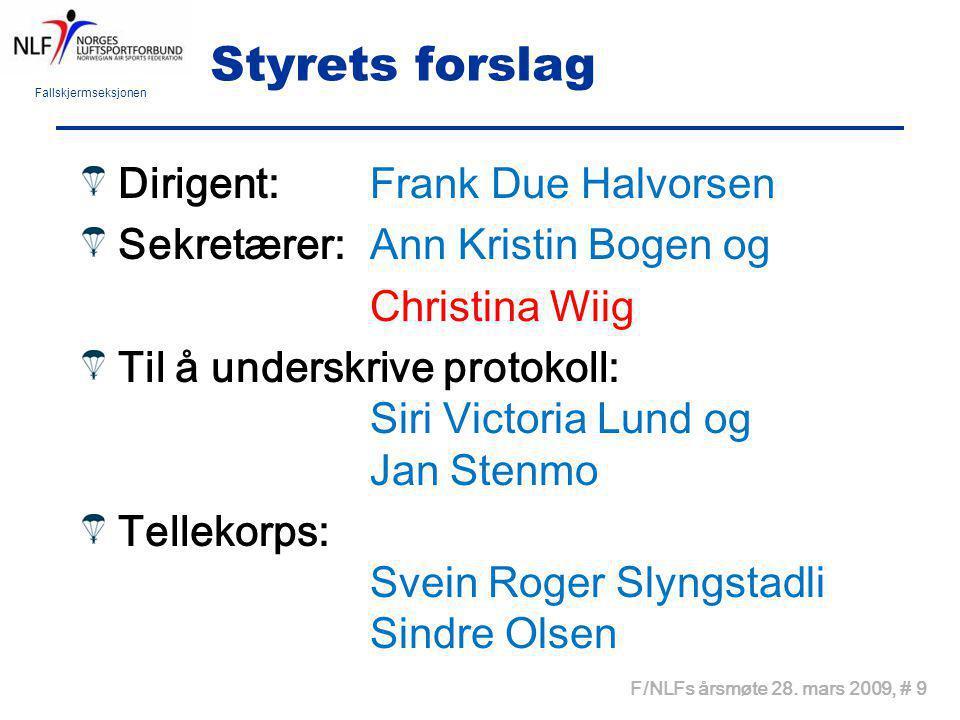 Fallskjermseksjonen F/NLFs årsmøte 28. mars 2009, # 9 Styrets forslag Dirigent: Frank Due Halvorsen Sekretærer: Ann Kristin Bogen og Christina Wiig Ti