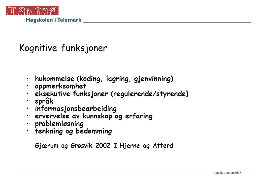 Inge Jørgensen 2007 Lenker •Wisc-r http://www.uib.no/psyfa/studentinformasjon/Grunnfag/Grunnfag/Forelesn ingsnotater/matthaus/Wechsler/sld001.htm Vær skeptisk http://www.uib.no/psyfa/studentinformasjon/Grunnfag/Grunnfag/Forelesn ingsnotater/matthaus/Wechsler/sld001.htm •Psykisk utviklingshemming http://www.habiliteringstjenesten.com/html/barn/maalgr/mpu.html http://www.habiliteringstjenesten.com/html/barn/maalgr/mpu.html •Bjørn Einar Bjørgo om generelle lærevansker •http://samtak2.ls.no/cgi-bin/samtak/imaker?id=35808http://samtak2.ls.no/cgi-bin/samtak/imaker?id=35808 •Dynamisk testing http://www.inap.no/artikler/ahansen03.pdfhttp://www.inap.no/artikler/ahansen03.pdf