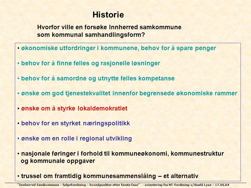 """""""Innherred Samkommune – følgeforskning – hovedpunkter etter første fase"""" - orientering fra NT-forskning v/Roald Lysø – 17.06.04 Historie Hvorfor ville"""
