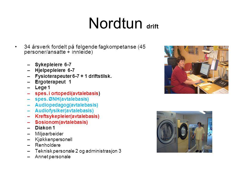 Nordtun drift •34 årsverk fordelt på følgende fagkompetanse (45 personer/ansatte + innleide) –Sykepleiere 6-7 –Hjelpepleiere 6-7 –Fysioterapeuter 6-7 + 1 driftstilsk.
