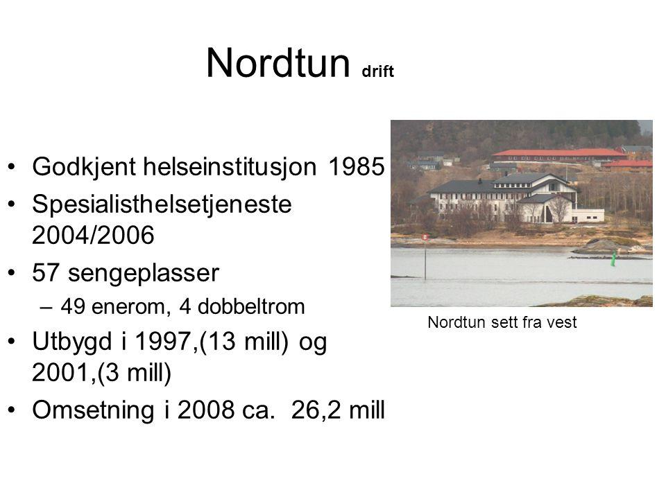 Nordtun drift •Godkjent helseinstitusjon 1985 •Spesialisthelsetjeneste 2004/2006 •57 sengeplasser –49 enerom, 4 dobbeltrom •Utbygd i 1997,(13 mill) og 2001,(3 mill) •Omsetning i 2008 ca.