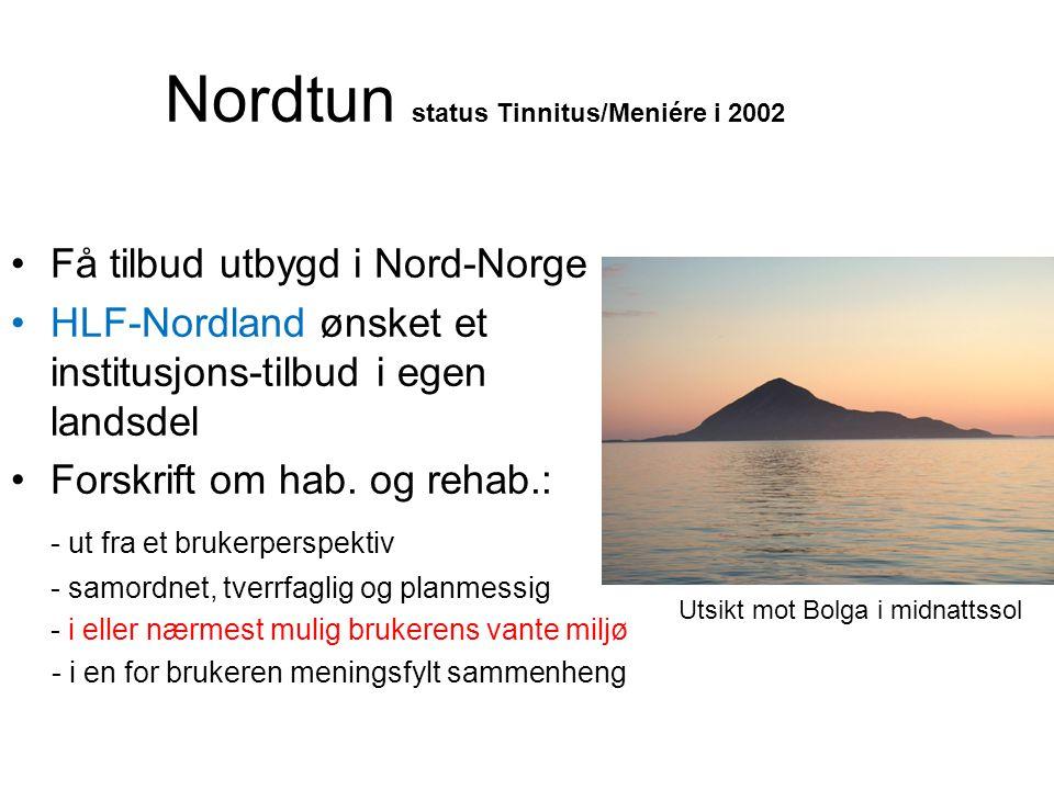 Nordtun status Tinnitus/Meniére i 2002 •Få tilbud utbygd i Nord-Norge •HLF-Nordland ønsket et institusjons-tilbud i egen landsdel •Forskrift om hab.
