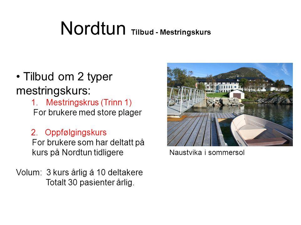 Nordtun Tilbud - Mestringskurs • Tilbud om 2 typer mestringskurs: 1.Mestringskrus (Trinn 1) For brukere med store plager 2. Oppfølgingskurs For bruker