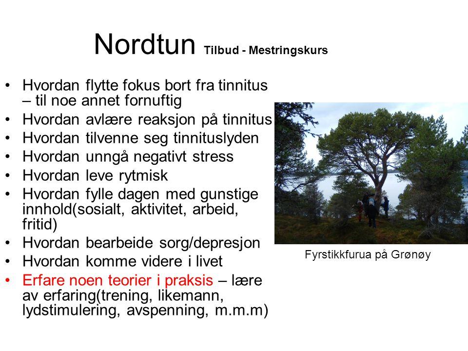Nordtun Tilbud - Mestringskurs •Hvordan flytte fokus bort fra tinnitus – til noe annet fornuftig •Hvordan avlære reaksjon på tinnitus •Hvordan tilvenn