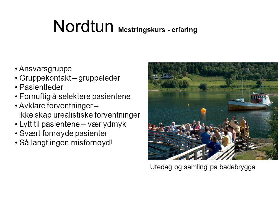 Nordtun Mestringskurs - erfaring • Ansvarsgruppe • Gruppekontakt – gruppeleder • Pasientleder • Fornuftig å selektere pasientene • Avklare forventning