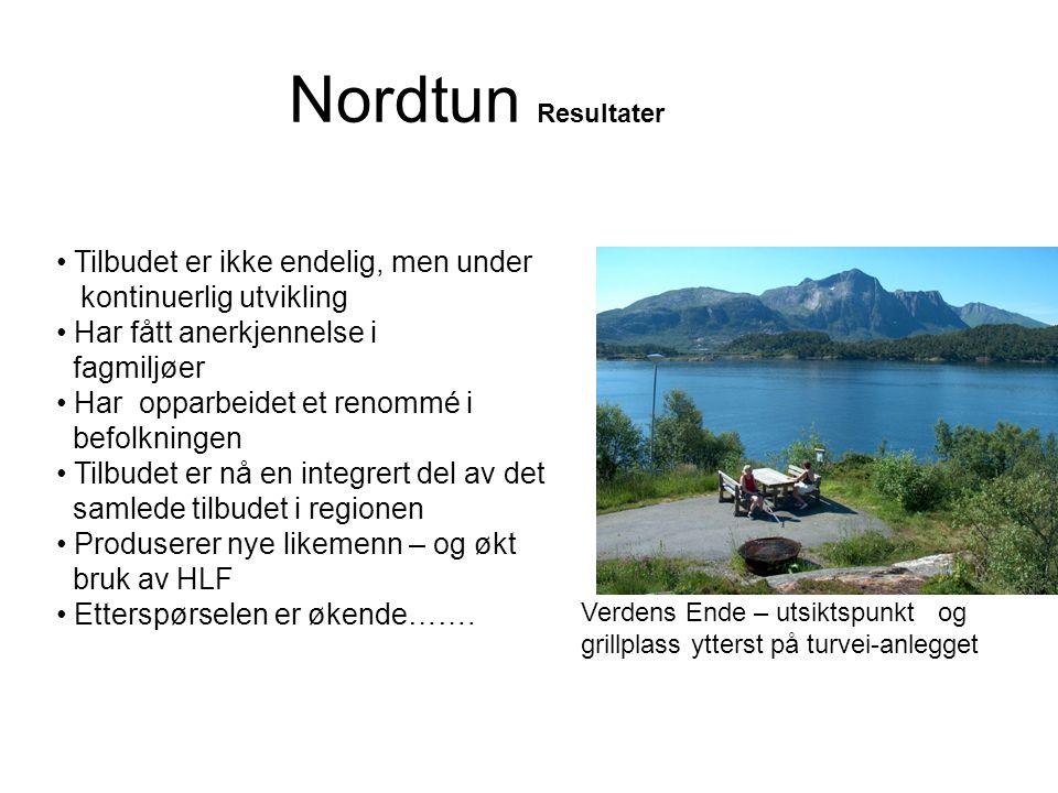 Nordtun Resultater • Tilbudet er ikke endelig, men under kontinuerlig utvikling • Har fått anerkjennelse i fagmiljøer • Har opparbeidet et renommé i b
