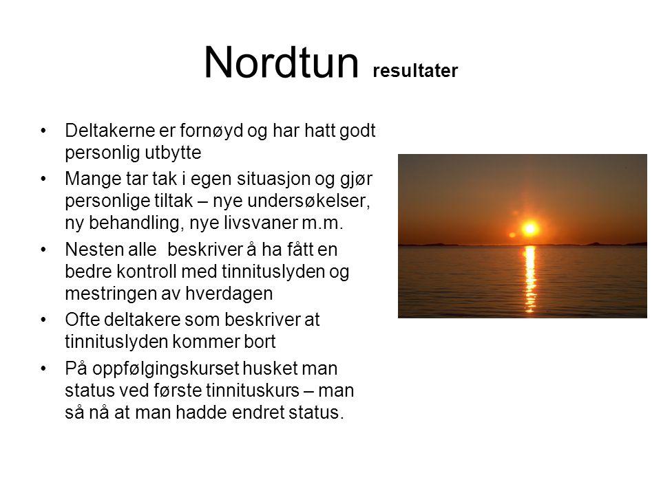 Nordtun resultater •Deltakerne er fornøyd og har hatt godt personlig utbytte •Mange tar tak i egen situasjon og gjør personlige tiltak – nye undersøke