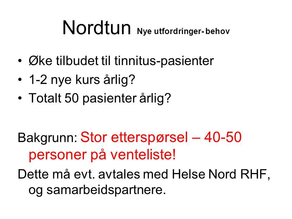Nordtun Nye utfordringer- behov •Øke tilbudet til tinnitus-pasienter •1-2 nye kurs årlig? •Totalt 50 pasienter årlig? Bakgrunn: Stor etterspørsel – 40
