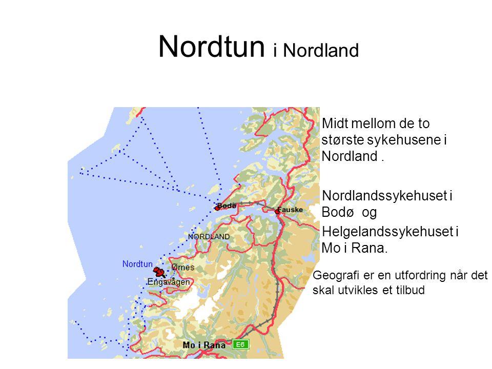 Nordtun i Nordland Midt mellom de to største sykehusene i Nordland. Nordlandssykehuset i Bodø og Helgelandssykehuset i Mo i Rana. Geografi er en utfor