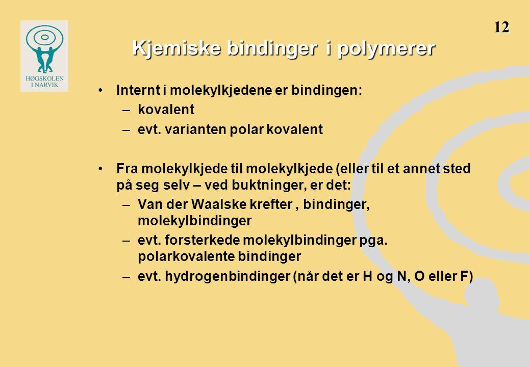 Kjemiske bindinger i polymerer •Internt i molekylkjedene er bindingen: –kovalent –evt. varianten polar kovalent •Fra molekylkjede til molekylkjede (el