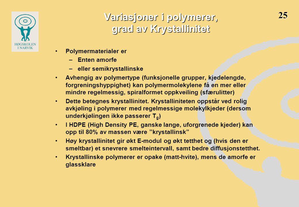 Variasjoner i polymerer, grad av Krystallinitet •Polymermaterialer er –Enten amorfe –eller semikrystallinske •Avhengig av polymertype (funksjonelle gr