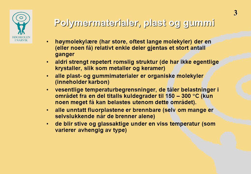 Polymer •bygget opp av monomer-enheter, som er koblet sammen i store molekyler, ofte kjeder •monomerene er organiske stoffer •dvs.