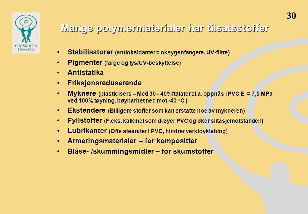 Mange polymermaterialer har tilsatsstoffer •Stabilisatorer (antioksidanter = oksygenfangere, UV-filtre) •Pigmenter (farge og lys/UV-beskyttelse) •Anti