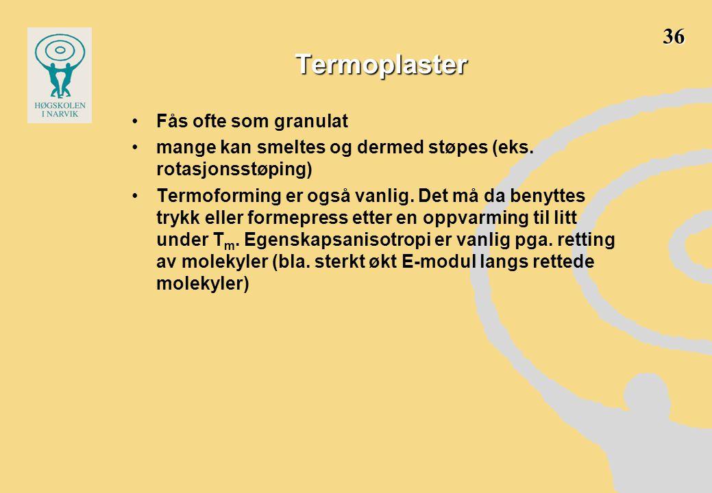 Termoplaster •Fås ofte som granulat •mange kan smeltes og dermed støpes (eks. rotasjonsstøping) •Termoforming er også vanlig. Det må da benyttes trykk