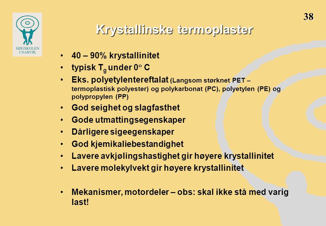 Krystallinske termoplaster •40 – 90% krystallinitet •typisk T g under 0  C •Eks. polyetylentereftalat (Langsom størknet PET – termoplastisk polyester
