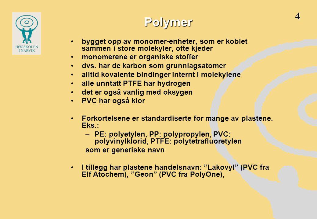 Polymer •bygget opp av monomer-enheter, som er koblet sammen i store molekyler, ofte kjeder •monomerene er organiske stoffer •dvs. har de karbon som g