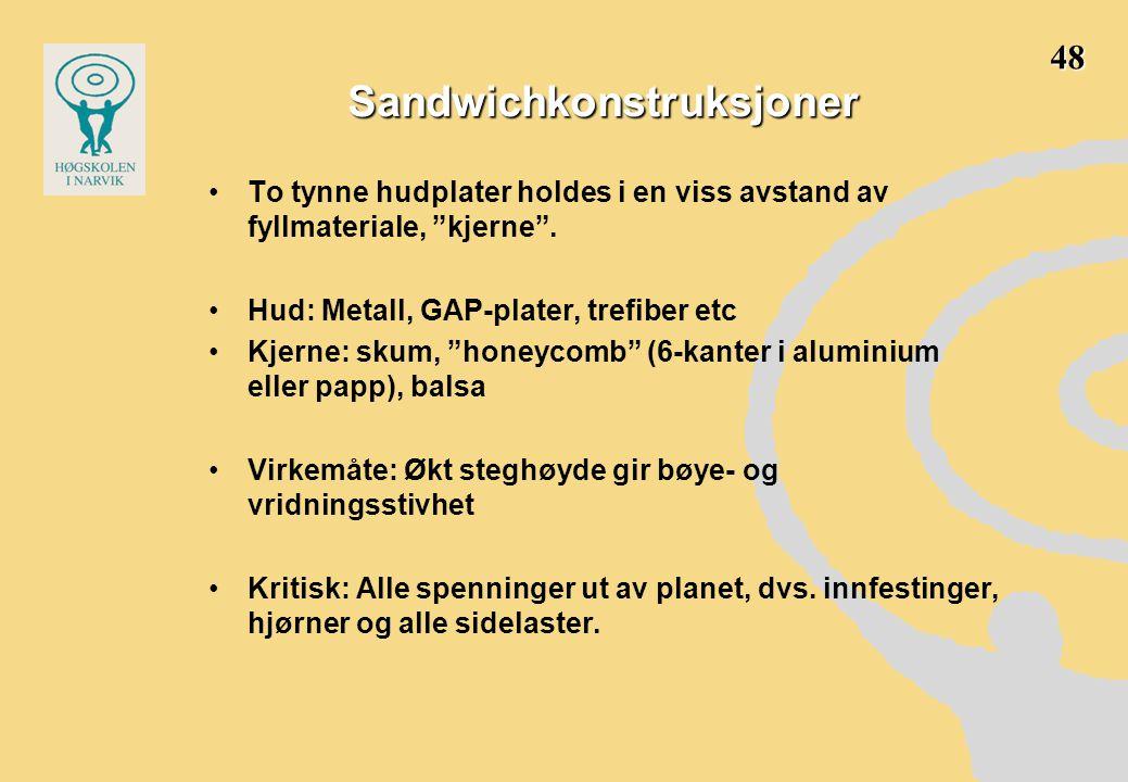 """Sandwichkonstruksjoner •To tynne hudplater holdes i en viss avstand av fyllmateriale, """"kjerne"""". •Hud: Metall, GAP-plater, trefiber etc •Kjerne: skum,"""