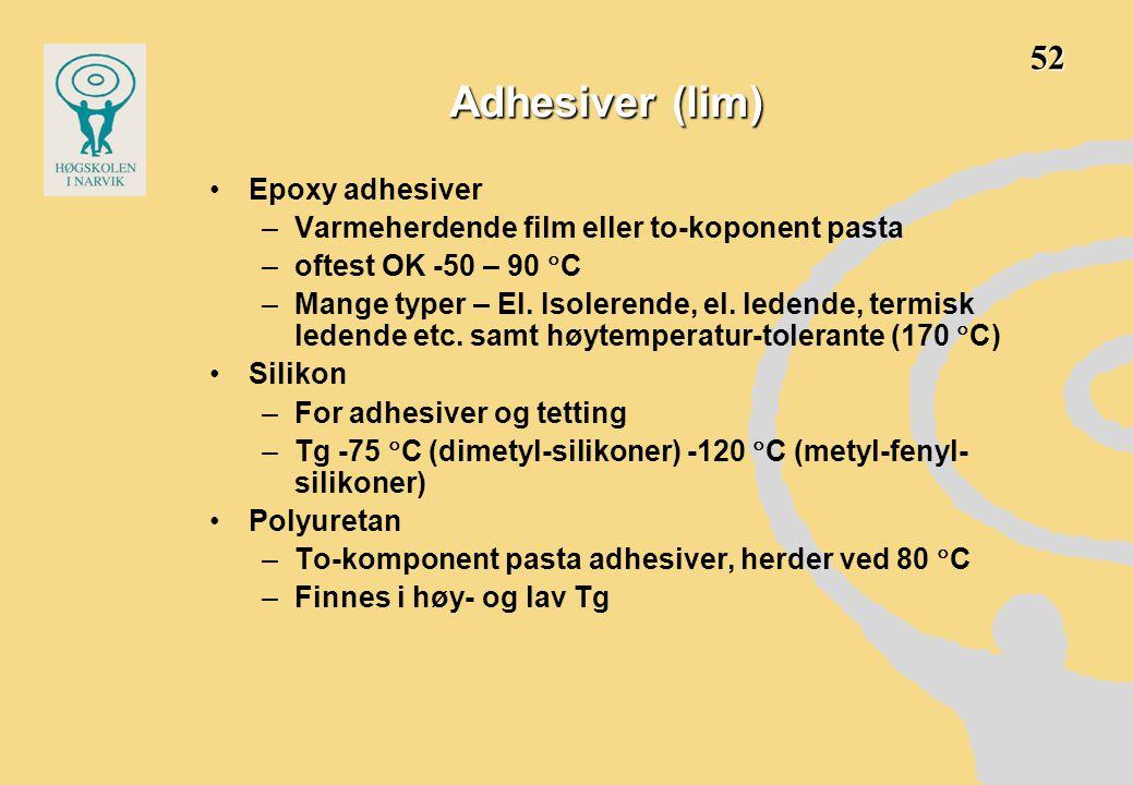 Adhesiver (lim) •Epoxy adhesiver –Varmeherdende film eller to-koponent pasta –oftest OK -50 – 90  C –Mange typer – El. Isolerende, el. ledende, termi