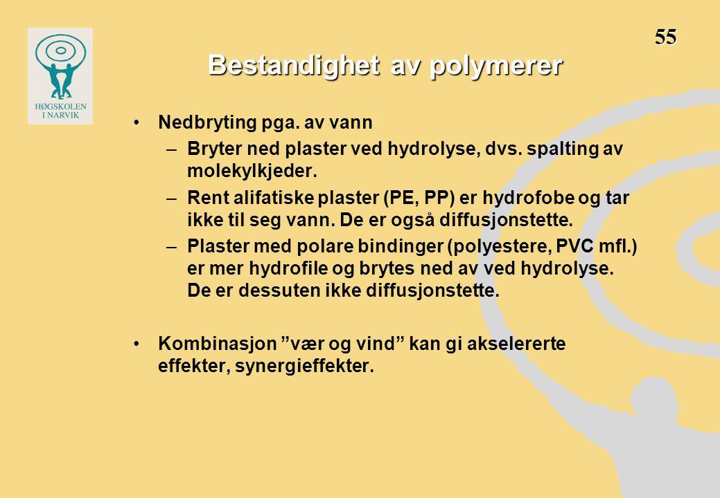 •Nedbryting pga. av vann –Bryter ned plaster ved hydrolyse, dvs. spalting av molekylkjeder. –Rent alifatiske plaster (PE, PP) er hydrofobe og tar ikke