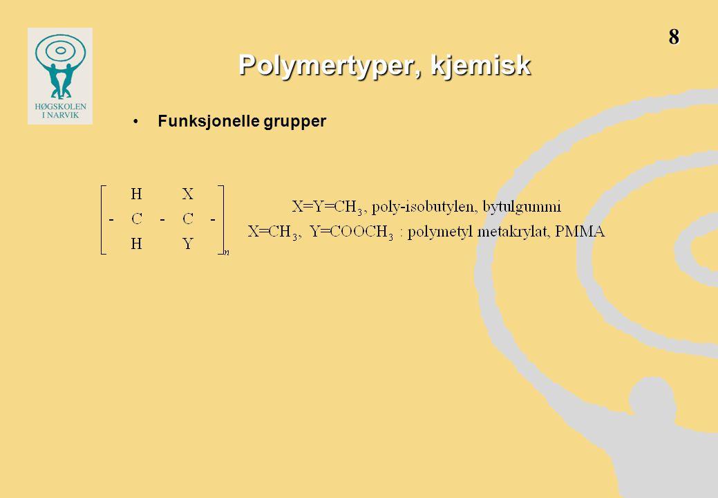 Kopolymerer gir mulighet for å skreddersy egenskapene •Kopolymerer har mindre tydelige overgangstemperaturer •blokk- og pode kopolymerer gir to-fasestruktur, som utnyttes til å få bedre kombinasjon av seig og stiv polymer over et bredere temperaturintervall, idet den ene fasen er under og den andre over T g T.