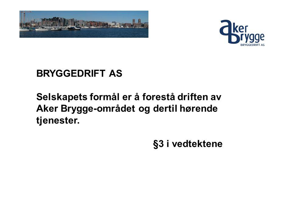 BRYGGEDRIFT AS Selskapets formål er å forestå driften av Aker Brygge-området og dertil hørende tjenester. §3 i vedtektene