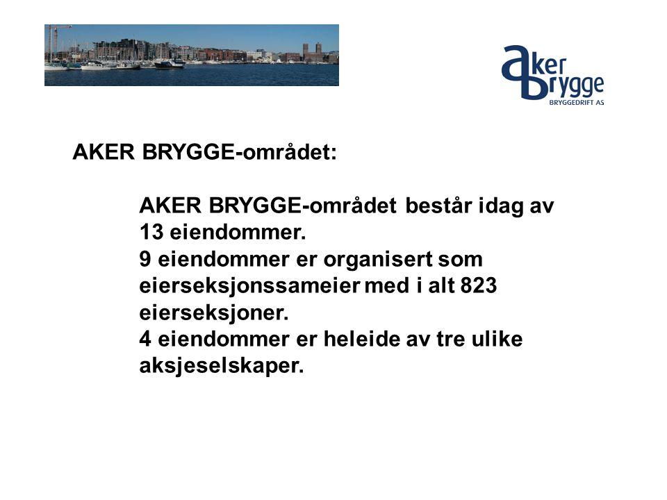 AKER BRYGGE-området: AKER BRYGGE-området består idag av 13 eiendommer. 9 eiendommer er organisert som eierseksjonssameier med i alt 823 eierseksjoner.