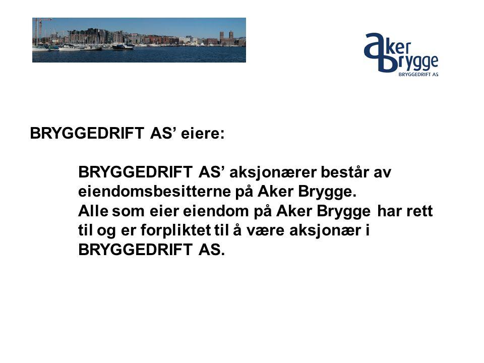 BRYGGEDRIFT AS' eiere: BRYGGEDRIFT AS' aksjonærer består av eiendomsbesitterne på Aker Brygge. Alle som eier eiendom på Aker Brygge har rett til og er