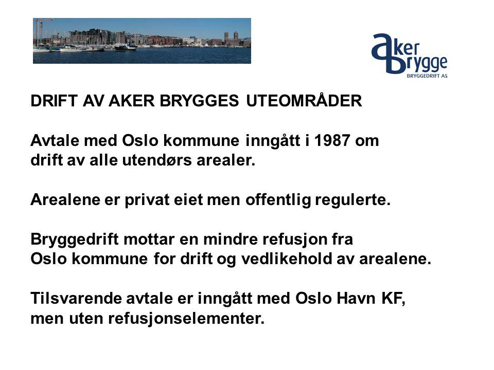 DRIFT AV AKER BRYGGES UTEOMRÅDER Avtale med Oslo kommune inngått i 1987 om drift av alle utendørs arealer. Arealene er privat eiet men offentlig regul