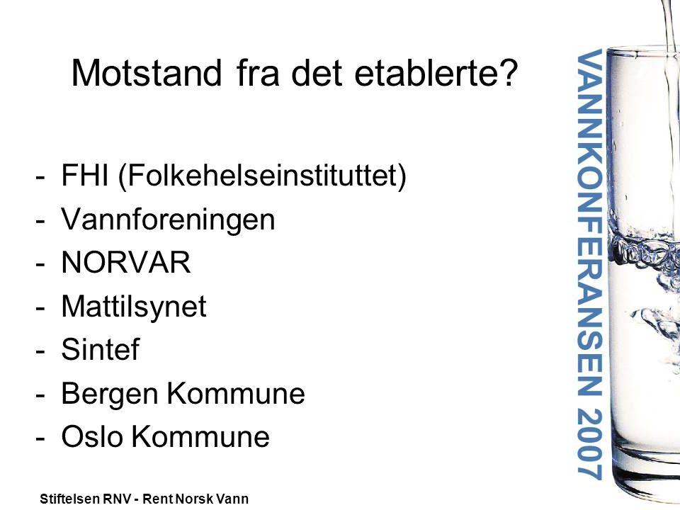 Stiftelsen RNV - Rent Norsk Vann Motstand fra det etablerte? -FHI (Folkehelseinstituttet) -Vannforeningen -NORVAR -Mattilsynet -Sintef -Bergen Kommune