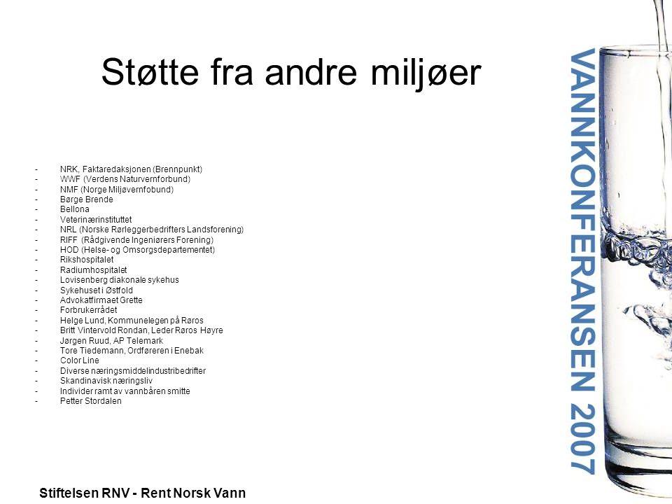 Stiftelsen RNV - Rent Norsk Vann Støtte fra andre miljøer -NRK, Faktaredaksjonen (Brennpunkt) -WWF (Verdens Naturvernforbund) -NMF (Norge Miljøvernfob