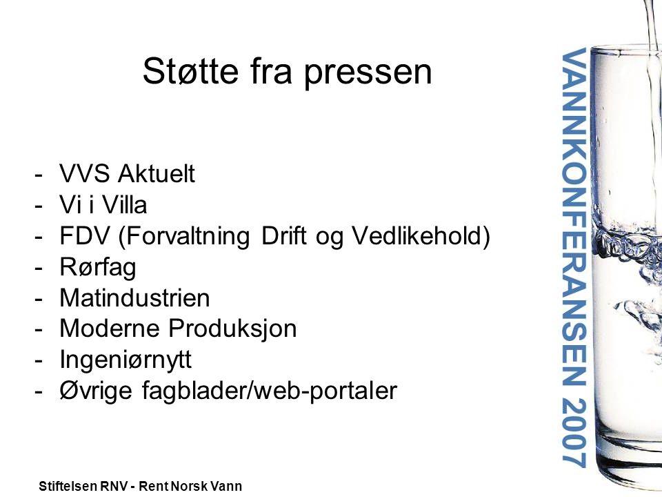 Stiftelsen RNV - Rent Norsk Vann Støtte fra pressen -VVS Aktuelt -Vi i Villa -FDV (Forvaltning Drift og Vedlikehold) -Rørfag -Matindustrien -Moderne Produksjon -Ingeniørnytt -Øvrige fagblader/web-portaler