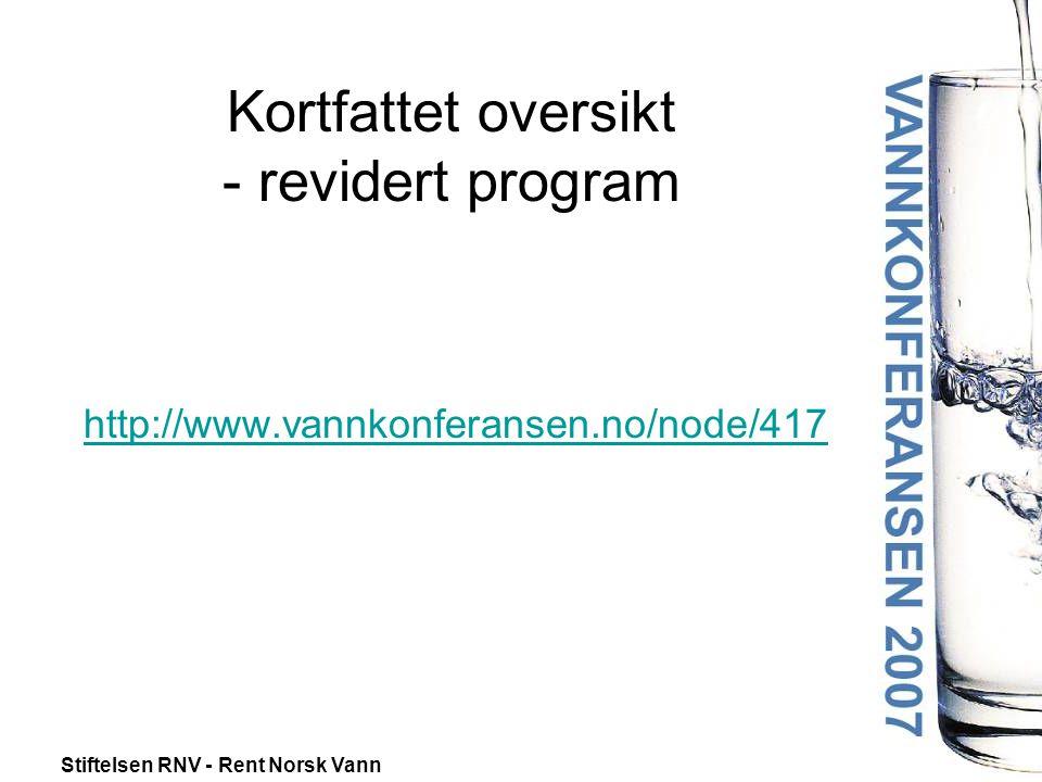 Stiftelsen RNV - Rent Norsk Vann Kortfattet oversikt - revidert program http://www.vannkonferansen.no/node/417