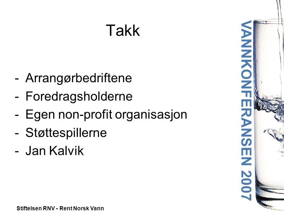Stiftelsen RNV - Rent Norsk Vann Takk -Arrangørbedriftene -Foredragsholderne -Egen non-profit organisasjon -Støttespillerne -Jan Kalvik