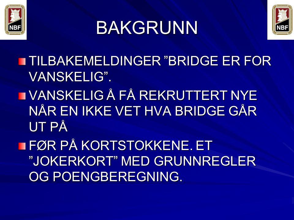 BAKGRUNN TILBAKEMELDINGER BRIDGE ER FOR VANSKELIG .