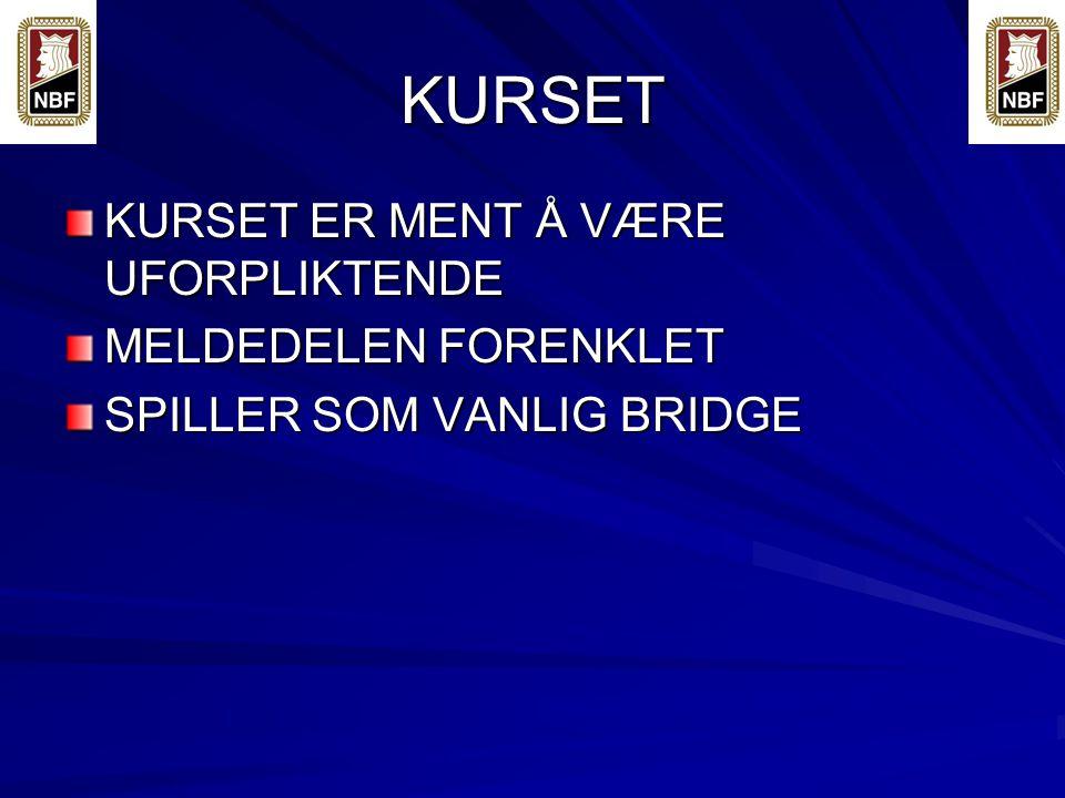 KURSET KURSET ER MENT Å VÆRE UFORPLIKTENDE MELDEDELEN FORENKLET SPILLER SOM VANLIG BRIDGE