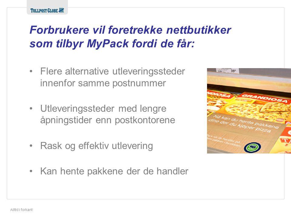 Alltid i forkant Forbrukere vil foretrekke nettbutikker som tilbyr MyPack fordi de får: •Flere alternative utleveringssteder innenfor samme postnummer •Utleveringssteder med lengre åpningstider enn postkontorene •Rask og effektiv utlevering •Kan hente pakkene der de handler
