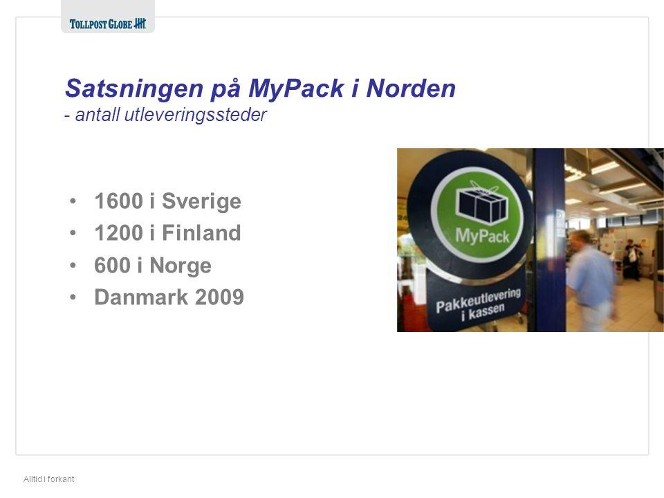Alltid i forkant Satsningen på MyPack i Norden - antall utleveringssteder •1600 i Sverige •1200 i Finland •600 i Norge •Danmark 2009