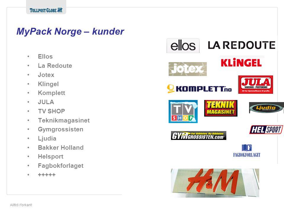 Alltid i forkant MyPack Norge – kunder •Ellos •La Redoute •Jotex •Klingel •Komplett •JULA •TV SHOP •Teknikmagasinet •Gymgrossisten •Ljudia •Bakker Holland •Helsport •Fagbokforlaget •+++++