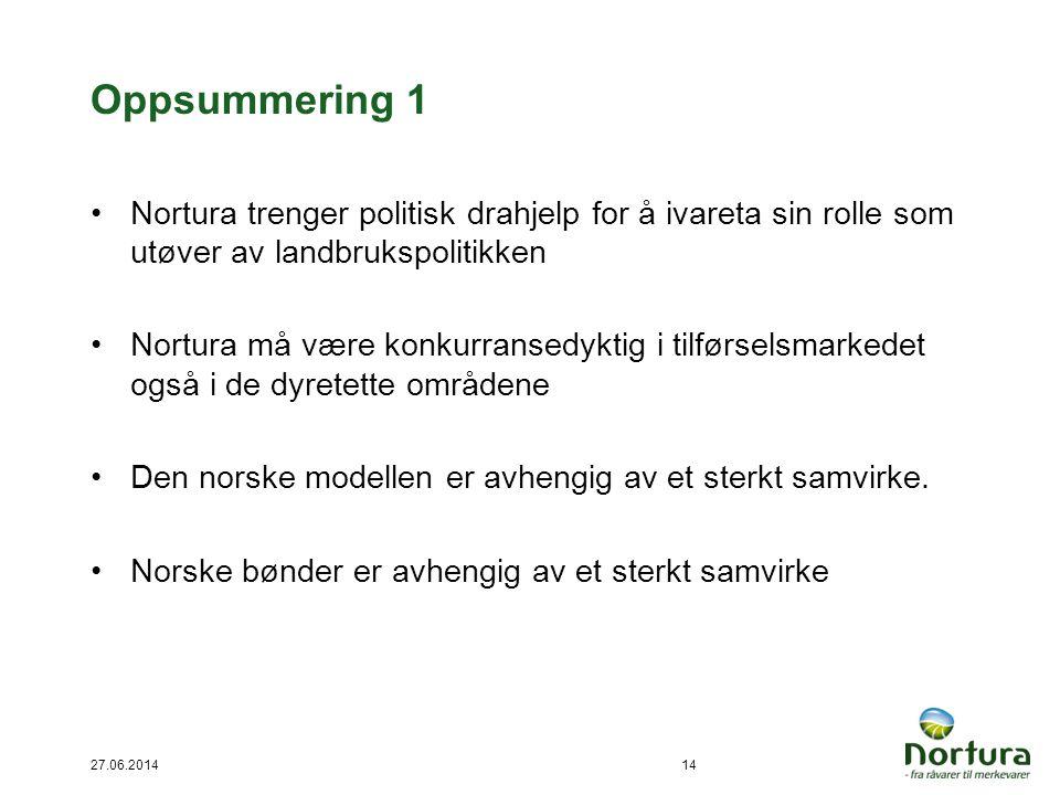 Oppsummering 1 •Nortura trenger politisk drahjelp for å ivareta sin rolle som utøver av landbrukspolitikken •Nortura må være konkurransedyktig i tilfø