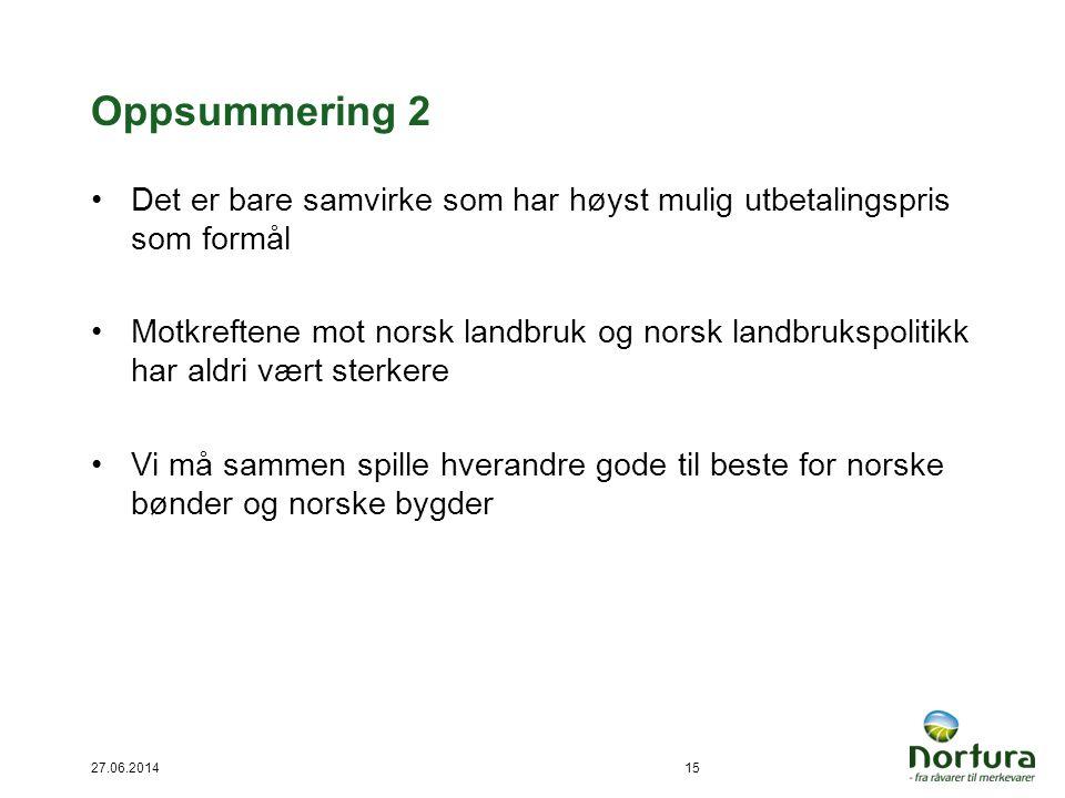 Oppsummering 2 •Det er bare samvirke som har høyst mulig utbetalingspris som formål •Motkreftene mot norsk landbruk og norsk landbrukspolitikk har ald